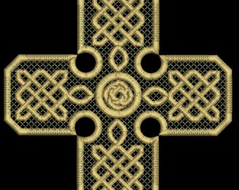 Celtic cross Machine Embroidery Design,  three sizes tested