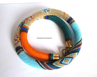 """Bead Crochet Necklace """"Persia"""" crochet rope for women geometric beaded jewelry made to order"""
