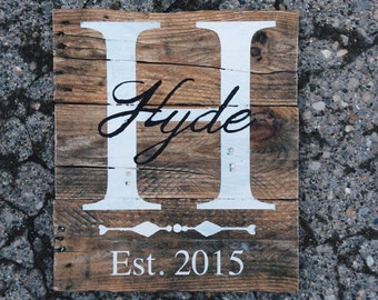 Custom Last Name and Initial Wood Sign - Family Established Date - Rustic Home Decor