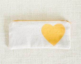 Gold, Heart, Makeup Bag, Clutch Purse, Clutch, Bridesmaid Gift, Cosmetic Bag, Screen Print, Zipper Pouch, Pencil Case, Travel Bag