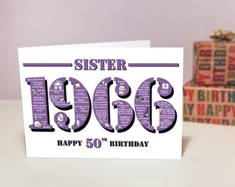 Happy 50th Birthday Sister Greetings Card - Born In 1966 Facts A5 Womens / Female Purple