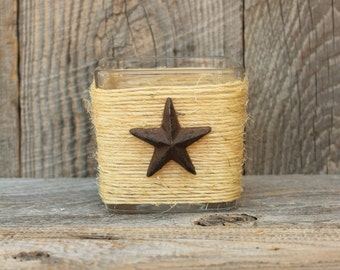 rustic country western square glass candle holder with metal star log cabin decor centerpiece