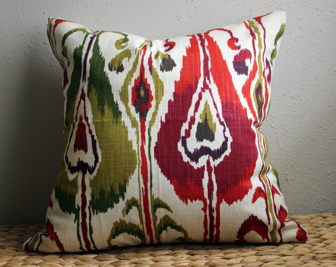 red and green ikat pillow cover