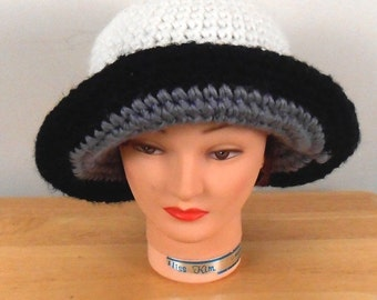 "Crochet Hat - White Hat with Black Brim Handmade 22""  - Autumn Hat - Winter Hat - Fashion Hat - Free US Shipping"