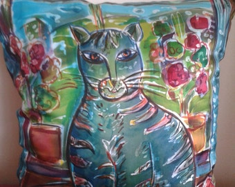 JIMMY the cat , silk cushion cover, silk pilow, made to order 15.7inx13.8in
