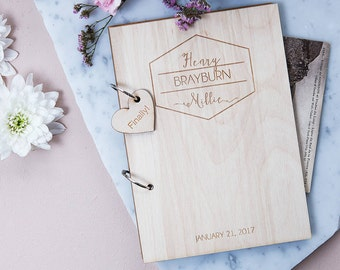 Personalised Mid Century Style Guest Book - Wooden Guest book - Rustic Wedding - Gift for Couples - Wedding Keepsake - Vintage Guest Book