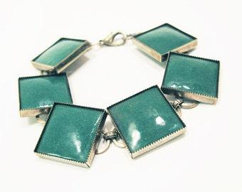 Vintage Enamel Bracelet. Turquoise Enamel + Tin Square Link Bracelet – Boho Chic.