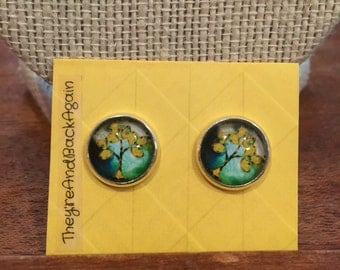 12mm Round Yellow&Teal Tree Glass Stud Silver Earrings