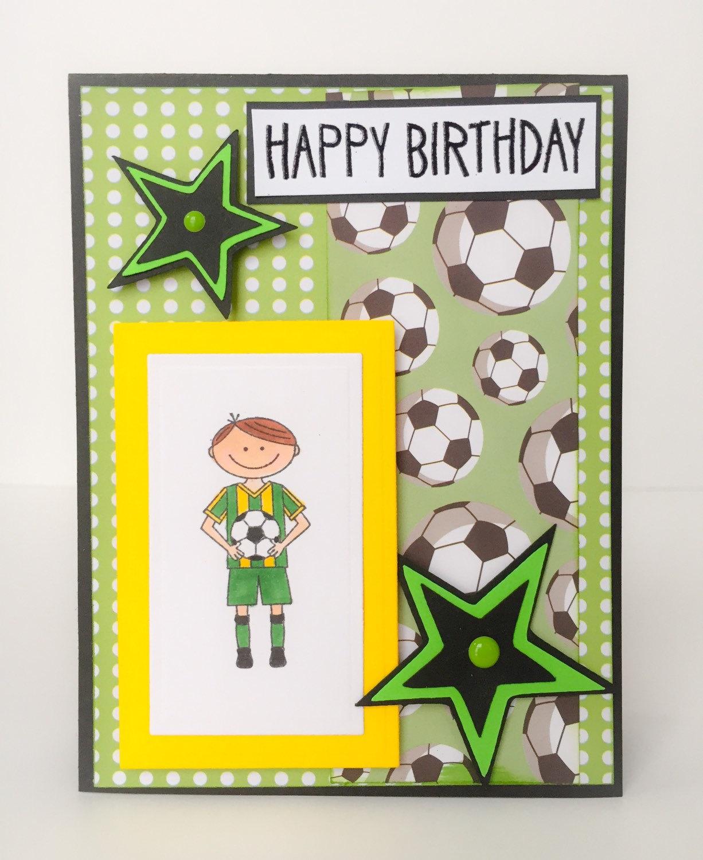 Birthday Cards For Teenage Guys ~ Handmade birthday card boys soccer