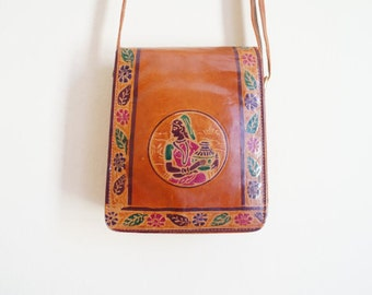 Vintage Embroidered Leather Bag / Indian Leather Bag