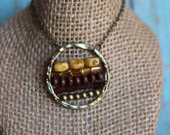 Boho Beaded Pendant - Bronze and Gold Medallion Necklace - Bohemian Statement Necklace - Beaded Pendant Necklace - Beaded Jewelry