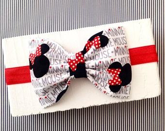 Minnie mouse disney red grey black polkadot headband hair bow