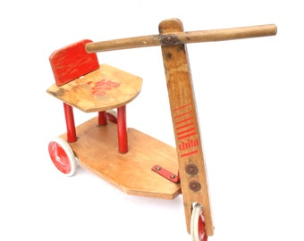 Kids Scooter Wooden Toys Kids Nursery Decor Mid Century Made in Holland Red White