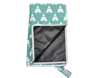 Teal Teepee Travel Diaper Changing Pad- Waterproof Backing and Machine Washable- Ready to Ship
