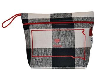South Dakota Buffalo Plaid Vinyl Lined Makeup Bag or Wet Bag- Ready to Ship