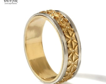 Gold Wedding Band , mixed gold ,14k solid yellow gold, mixed metal band, Flower Patterned Motif , handmade gold band, men band, white gold