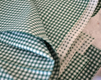 "1950's Vintage Small Print Gingham Very Green & White Pure Cotton Fabric 1 yard by 36"" wide"