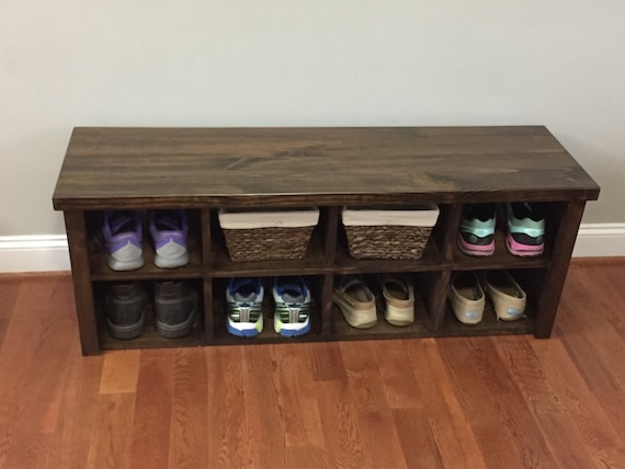 Rustic Shoe Bench With Cubbies