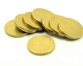"""10 pcs. 18 mm (45/64"""" ) Raw Brass 12 gauge (2 mm thick ) Solid Brass Stamping Blanks No Hole"""