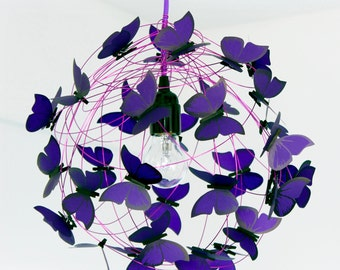 """Lamp with violet butterflies """"Purple Rain""""-FREE SHIPPING"""