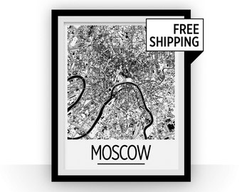 Moscow Map Poster - russia Map Print - Art Deco Series