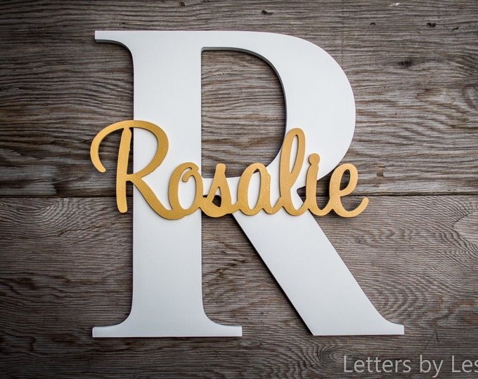 Large - Wood Letters - Capital Letter with Name - Custom Nursery Decor - Personalized name on Large Letter, Wooden letter