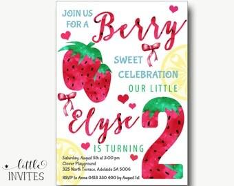 Strawberry Girls Birthday Invitation/Strawberry Lemonade Party Invitation/Strawberries/Watercolor/Tropical Invitation/Lemonade Party-Elyse