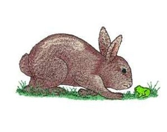 Brown Easter Bunny Rabbit Hare Embroidered Iron On Patch / Applique