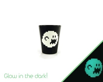 Glow in the Dark, Boo, Super Mario Brothers,Shot Glass, Geeky Glassware, keepsake, Gifts for Geeks, Nerd Crafts, Gifts for men, Geekery