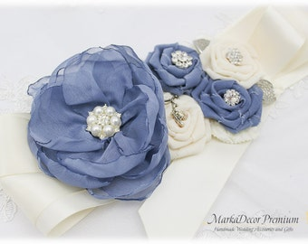 Wedding Sash Bridal Jeweled Flower Sash Custom Belt in Powder Dusty Blue Ivory with Brooches, Flowers Beach Wedding