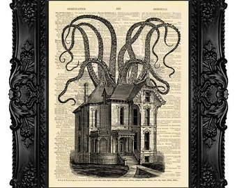 Haunted House Tentacles Art Print Cthulhu Decor Victorian Gothic Decor ORIGINAL ARTWORK Dictionary Art Print Vintage Antique Book Page 509