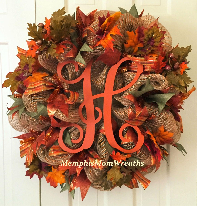 Fall Burlap Monogram Deco Mesh Wreath Monogram Wreath