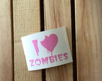 I Love Zombies Vinyl Decal Sticker