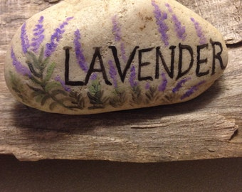 Painted LAVENDAR Rock Plant Marker Painted Rock Paperweight