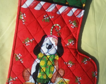 New quilted, handmade, Christmas Puppy Stocking, decoration, holiday decoration, christmas decoration, holiday decor