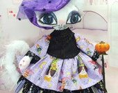 "Art doll 18"" Miss Kitty Witch w/ walking stick, she is a ultra suede cloth cat doll, ball jointed arms & bendable elbow, sculpted paws++"