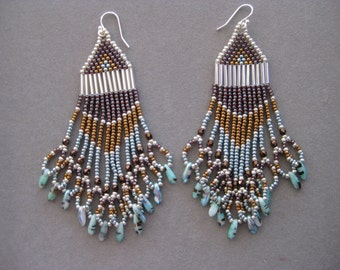 Turquoise,Burgundy and Bronze Native American Style Seed Beaded Earrings