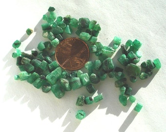 100+ Natural Vintage Emerald Rough Crystal Chunks  Brazil gemstones healing stones beryl wire wrapping metaphysical green jewelry supplies