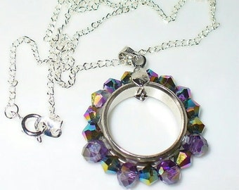 1 pendant ring with purple glass beads without chain (41)