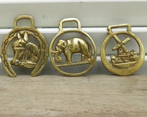 Three Small Vintage Horse Brasses, English Horse Brasses, Shire Horse Harness Tack, Equestrian Gifts,