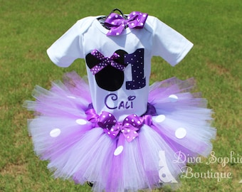 Personalized Purple Minnie Mouse Tutu Set with Number - Newborn - Baby Infant Toddler up to size 4T -  Birthday Set