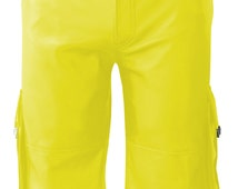 Yellow real Leather Combat Shorts With Six Pockets  Custom Made To Order MSO-001
