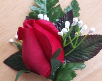 Wedding button hole, Wedding flowers, Rose button hole, Red Rose, Silk Rose, Boutonniere, Wedding Accessories