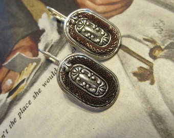 Vintage Silver Leverback Earrings with Rope-Like Finish and Scroll Design