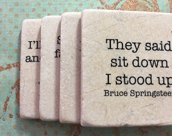 Coaster Set of 4 Bruce Springsteen Lyrics Decorative Tile Quote Coaster Marble Coaster Home Or Dorm Room Decor