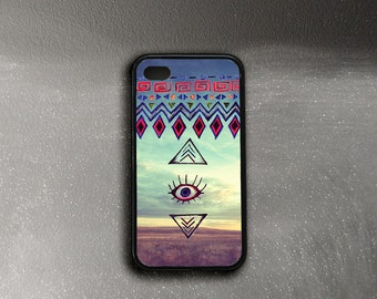 iPhone 4 Case All Seeing Eye, Symbolic iPhone 4s Case, Tribal iPhone 4 Cover, iPhone Case 4 Rubber Sides, Protective Eye iPhone Case
