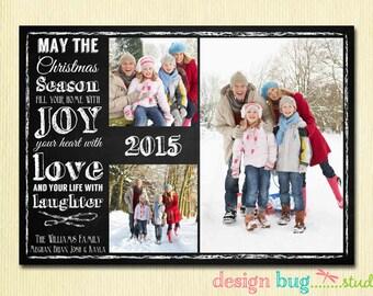 Chalkboard Christmas Card - Family Photo Christmas Card - Christmas Quote on Chalkboard - 1 OR 3 Pictures - Printable Card, Digital File