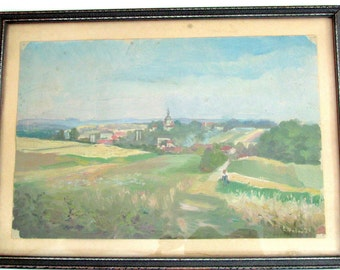 1918 German Countryside Impressionist Landscape Oil Painting Artist E. Weber