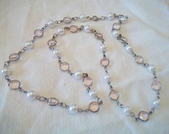 Vintage Pink Bezel Set Pearl Station Necklace