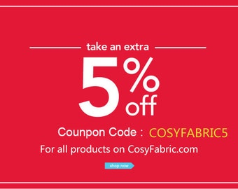 Fabric Discount Coupon Codes. Not For Sale.- 5% off